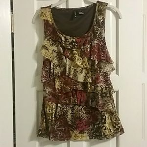 Multicolored ruffled tank New Directions
